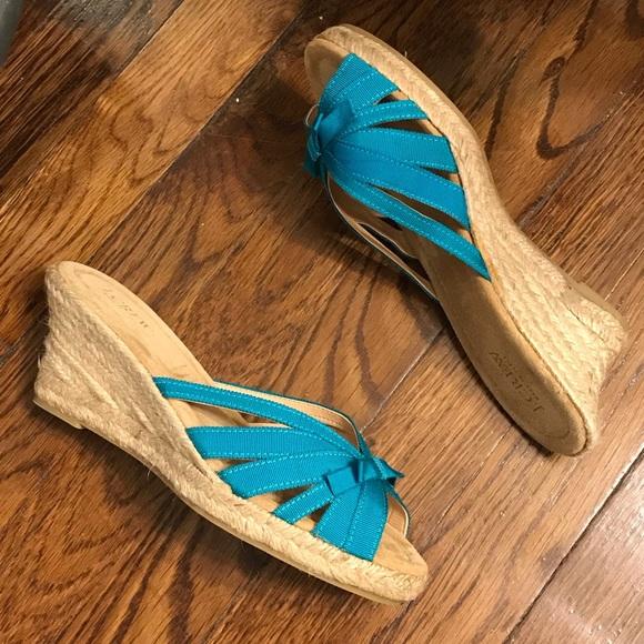 J. Crew Shoes - J. Crew Jillian Wedge Espadrilles Strappy Teal 8